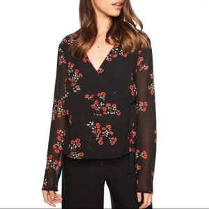 Bardot- Mira Wrap Top In Red Black Floral